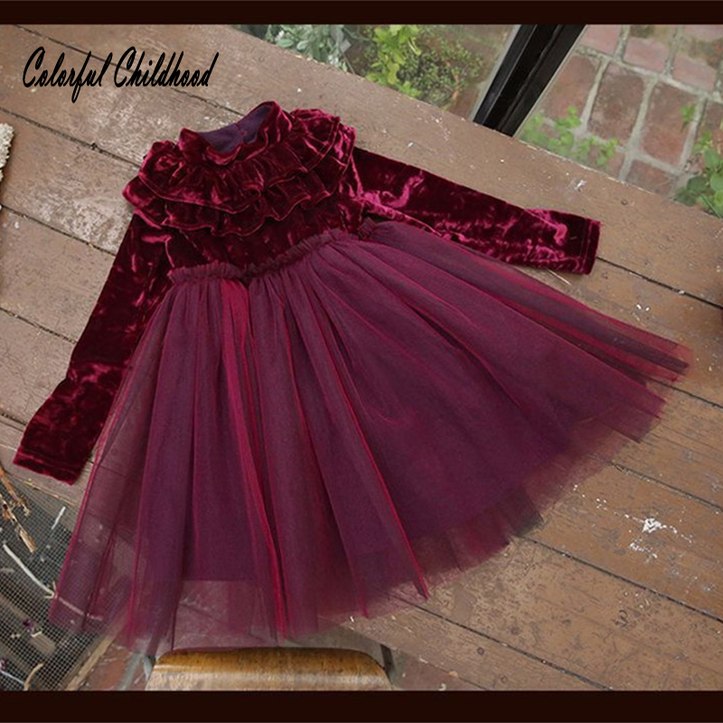 Warm winter Girls Dress velvet ruffles Princess Dress long sleeve Turtleneck vestido for baby Clothes Christmas Party Dress velvet turtleneck pleated dress