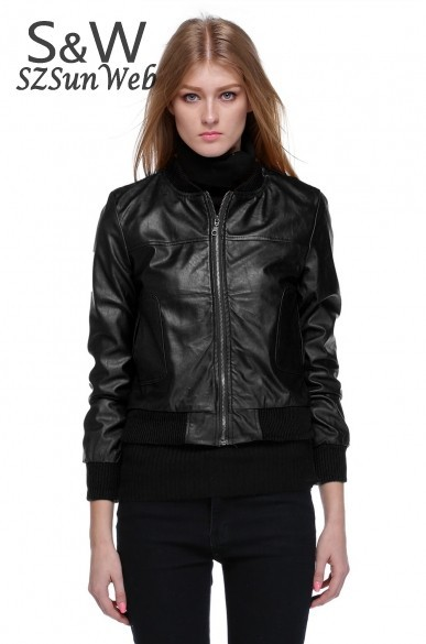 New Women's Zipper PU Leather Jacket Lady Coat Outerwear Two Color Tops free shipping 29