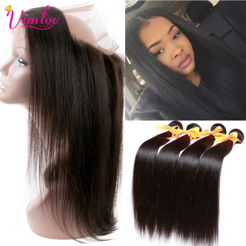 Human Hair Ear To Ear 360 Lace Frontal With Bundles 7A Straight Peruvian Virgin Hair 4 Bundles With 360 Frontal Natural Hairline