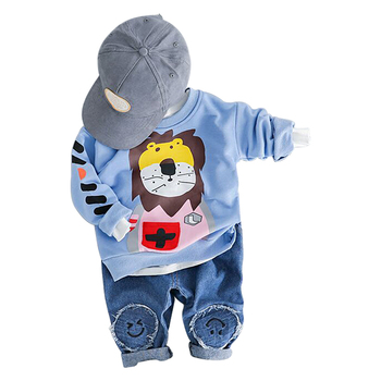 Baby lange mouw en najaar jongen nieuwe pak leeuw cartoon afdrukken katoenen kleding casual sport tweedelige
