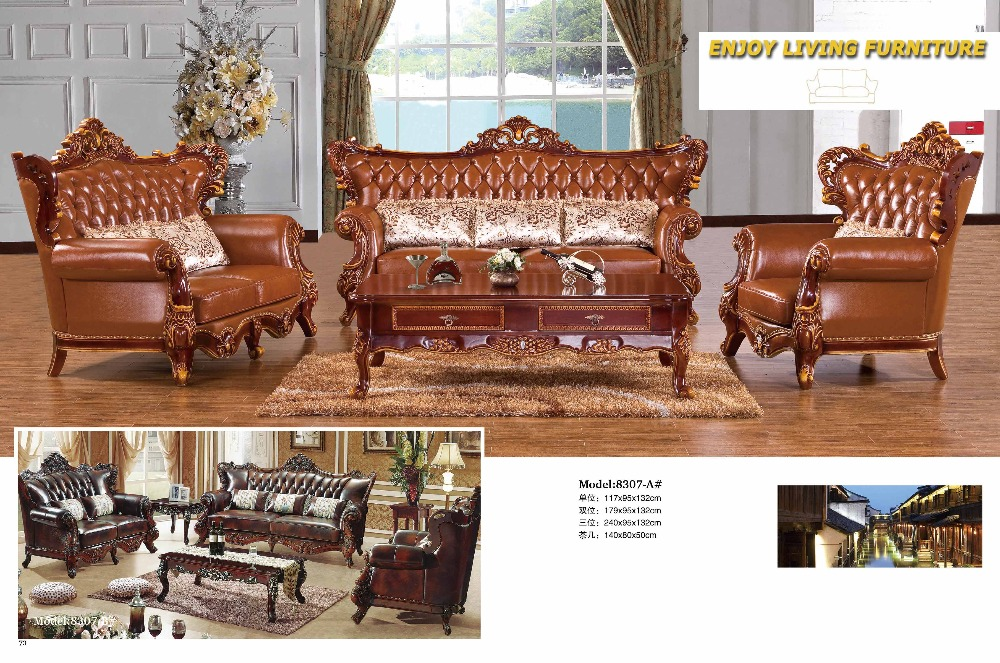 2016 Antique Chaise No Set Bean Bag Chair Living Room Sectional Sofa European Style Leather Hot