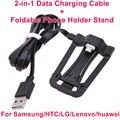 Brankbass 2-en-1 micro usb data cable de carga + plegable soporte del sostenedor del teléfono para samsung para xiaomi para lg todos los teléfonos inteligentes andriod