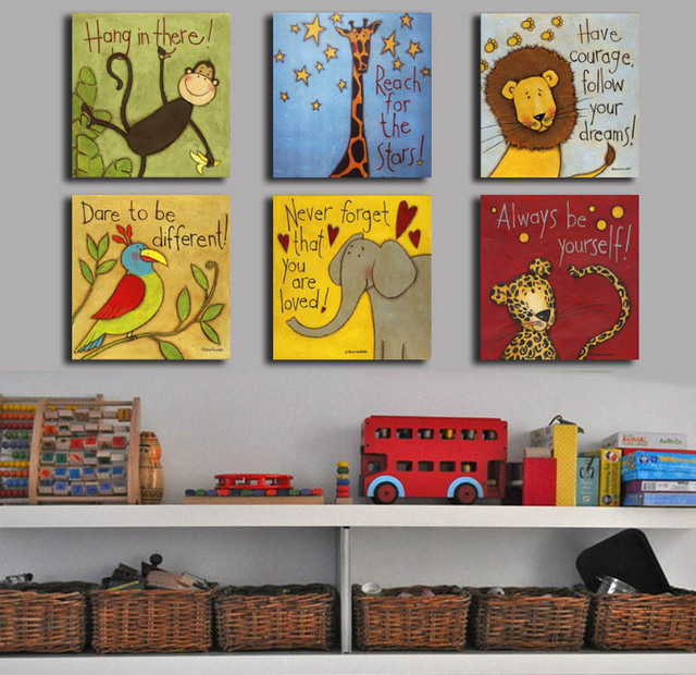 Free Shipping Canvas Painting Oil Painting 6 Pieces/set Modern Cartoon  Animals Wall Pictures Kids Room Wall Deco No Frame