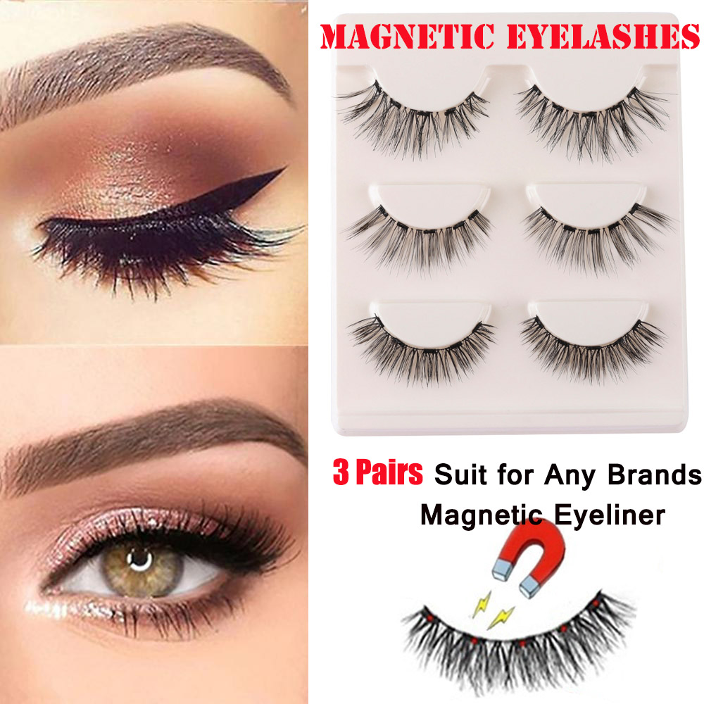 3 Pairs/Box Magnetic False Eyelashes For Magnetic Eyeliner Natural Long Wispies Fake Lashes Handmade Eye Extension Makeup Tools