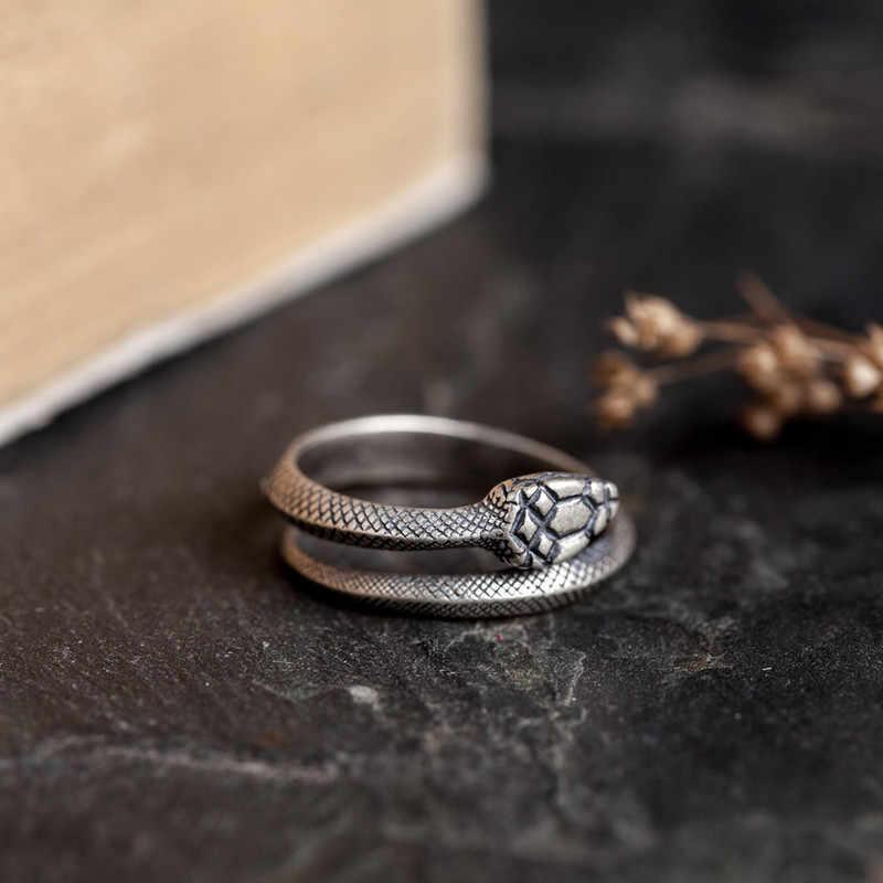 Anello testa gatto argento sterling 925 nero vintage per uomo donna regolabile