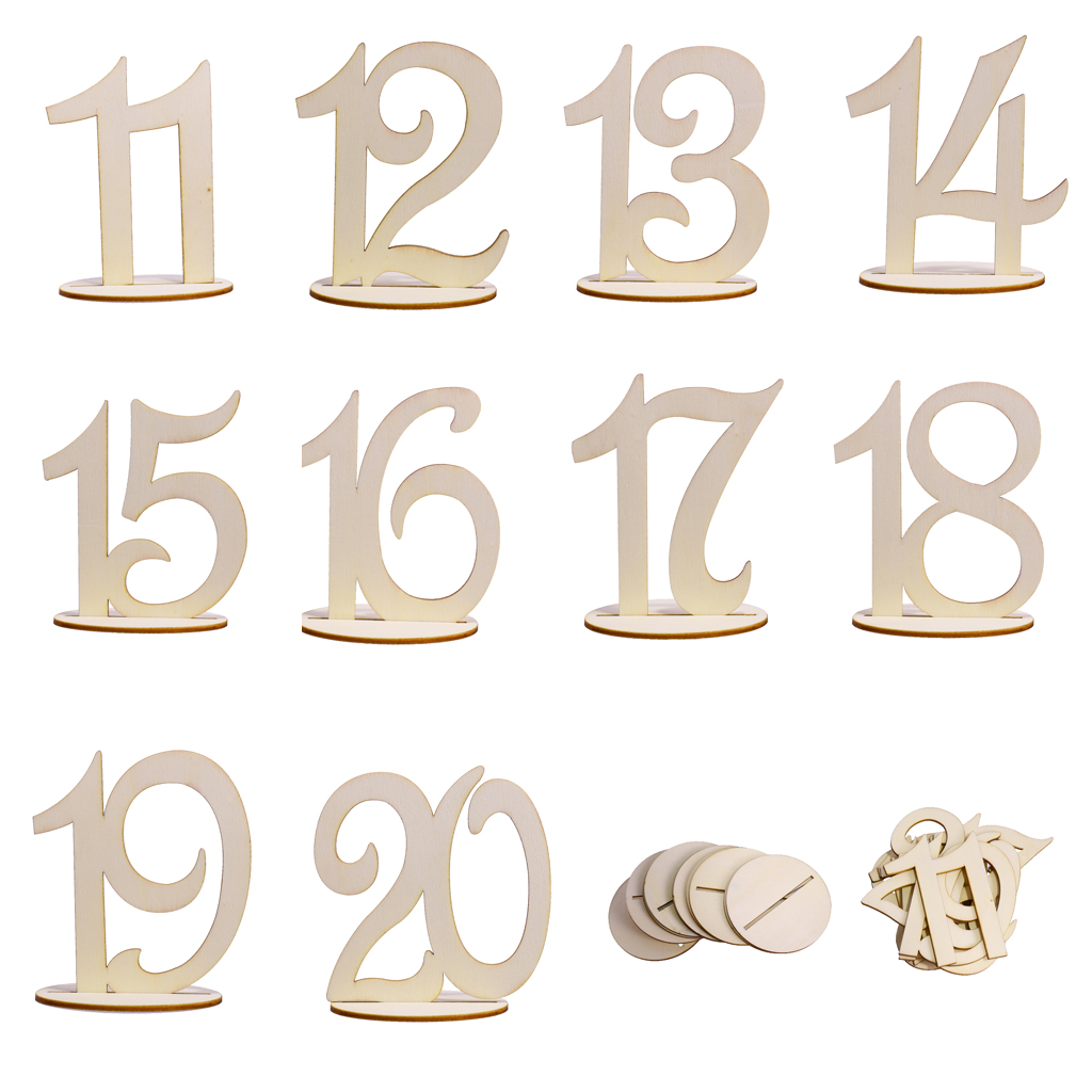 1-20 Wooden Table Numbers Set Base Birthday Wedding Party Decor Gifts DIY New~