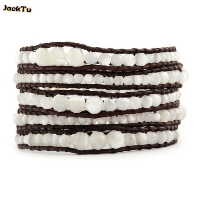 2017 wholesale 4MM 6MM mother of pearl beads real leather bracelet girl