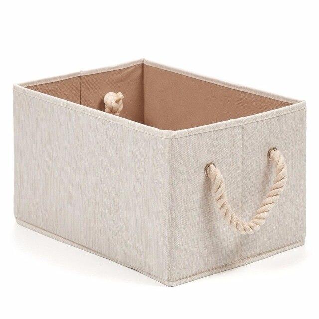Merveilleux Hangerlik Foldable Bamboo Fabric Storage Bin With Cotton Rope Handle,Water  Resistant Basket Box Organizer For Shelves