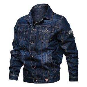 Image 1 - Мужская джинсовая куртка с отложным воротником и вышивкой, повседневные мужские джинсовые куртки с множеством карманов, ковбойские куртки, Bigig, Размер 6XL, весна осень
