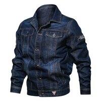 Spring Autumn Denim Jacket Men's Lapel Embroidery Casual Mens Jeans Jackets Multi pocket Male Cowboy Coats Bigig Size 6XL Solid
