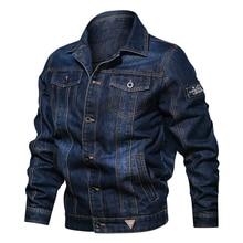 봄 가을 데님 자켓 남자 옷깃 자수 캐주얼 남성 청바지 자켓 멀티 포켓 남성 카우보이 코트 bigig 크기 6xl 솔리드