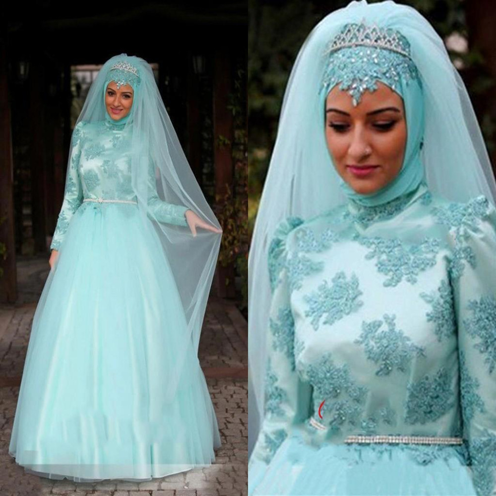Vintage Muslin   Dresses   Modest High Neck Long Sleeves Modest With Lace Appliques Dubai Arabic   Prom     Dresses
