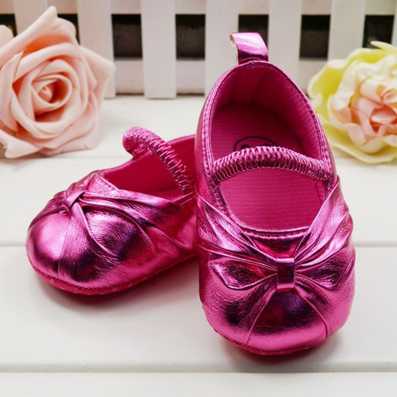 ФОТО 0-18 Month Fashion New Butterfly Knot Leather Baby Girl Shoes Gold Silver Rose Red Soft Sole First Walkers shoes Spring Autumn