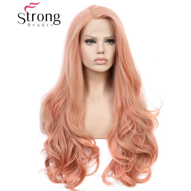 StrongBeauty Lace Front Wigs Pink Wigs For Women Synthetic Rose Wig Long Wavy 26inch