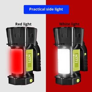 Image 3 - Super Heldere Led Zoeklicht Zaklamp Met Kant Licht 6 Verlichting Modi Aangedreven Door 18650 Batterij Voor Outdoor Camping