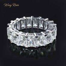 وونغ المطر 100% 925 الفضة الاسترليني مكون مويسانيتي الأحجار الكريمة الزفاف الخطوبة كوكتيل المرأة خاتم غرامة مجوهرات بالجملة