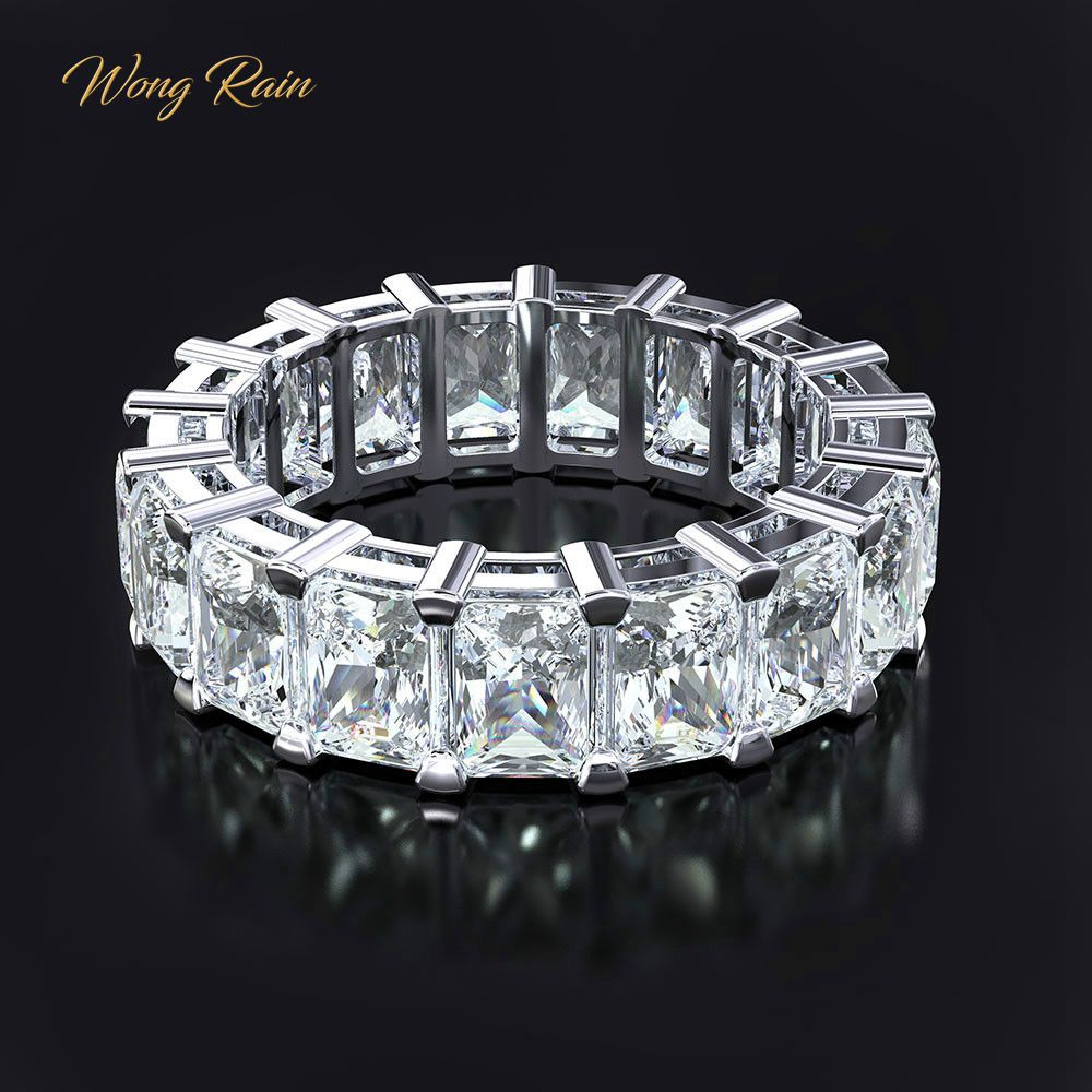 Wong Rain 100% 925 Sterling Silver Created Moissanite Gemstone Wedding Engagement Cocktail Women Ring Fine Jewelry Wholesale-in Rings from Jewelry & Accessories