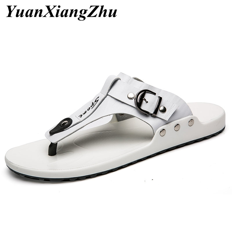 2019 New Men Slippers Genuine Leather Beach Sandals Fashion Outside Flip Flops Shoes Man Slippers Sandals Comfortable Mens Flats