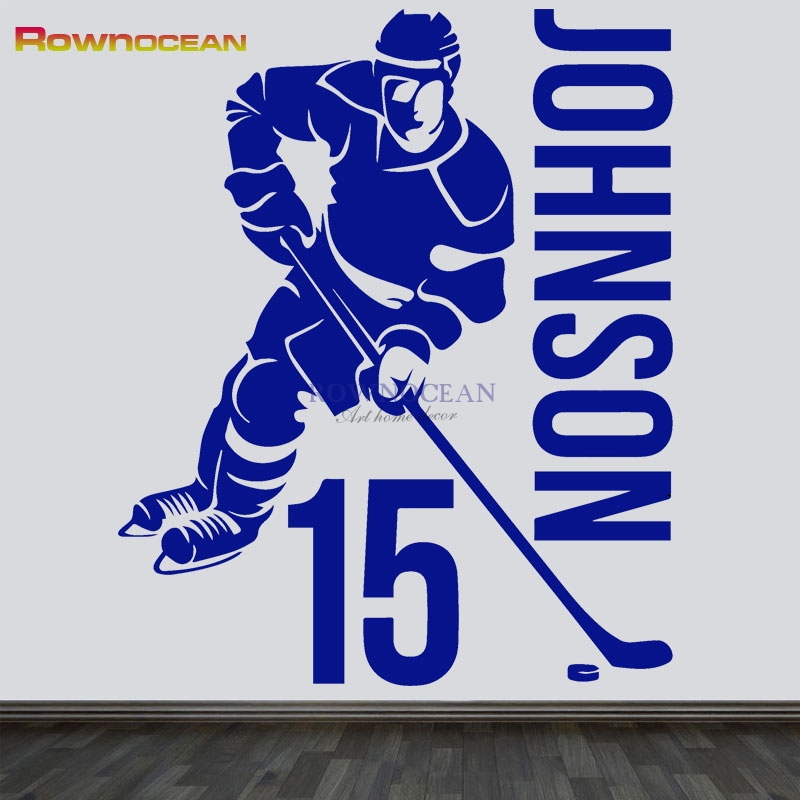 Ice Hockey Player NHL Sport Boy Room Mural Decor Wall Art Vinyl Decal Sticker Customized Name & NO. Wall Decor Diy Gift D521 image