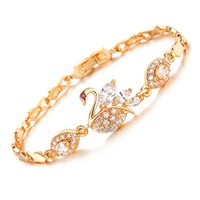 OPK Vintage Swan Design Link Chain Woman Bracelets Fashion Gold Color Cubic Zirconia Wedding Jewelry DM440
