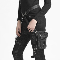 Gear Duke Women PU Leather Waist Bag Motorcycle Drop Leg Fanny Pack Hip Belt Phone Pouch Female Messenger Shoulder Crossbody Bag