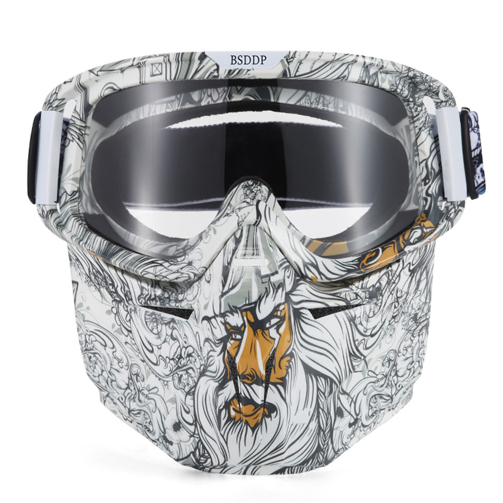 Motorcycle Face Mask Goggles Motocross Motorbike Skiing Modular Mask Moto Helmet Glasses for Open Face Vintage Retro Helmet 0908