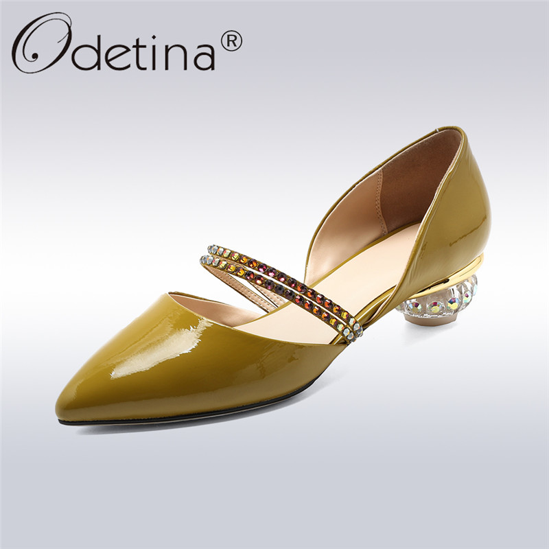 Odetina 2018 Summer Genuine Cow Leather Pumps Pointed Toes Med Crystal Strange Heels Women Rhinestone Band Strap Slip on Shoes
