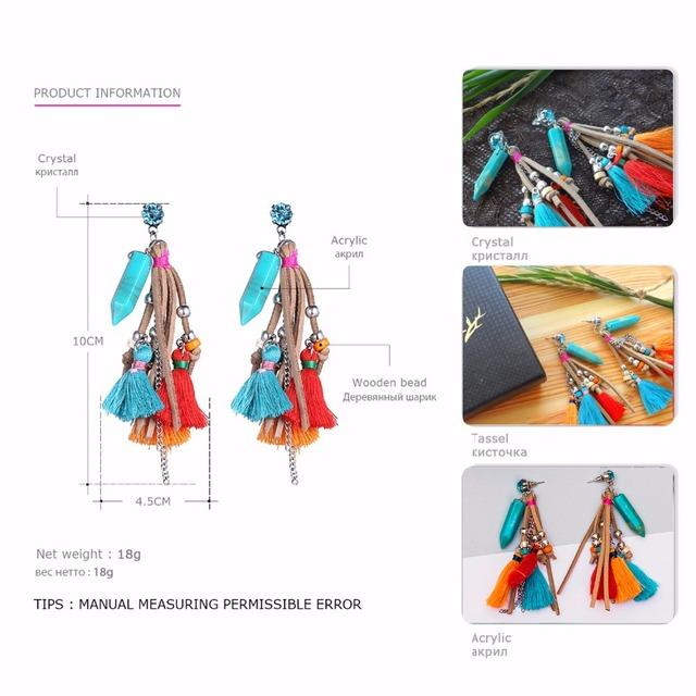 Bohemian Red Drop Earrings Jewelry 2017 Multicolor Fringe
