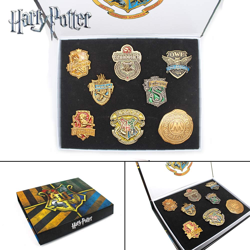 Giancomics Hot Movie Harri Potter Badges Set with Exquisite Box Alloy Pins Button Brooch Chestpin Costume Otaku Birthday Gift