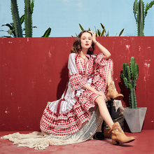 ARTKA 2019 קיץ חדש נשים שמלה משובצת 100% כותנה חצי שרוול ציצית V צוואר ארוך שמלת גברת אלגנטית בוהמי שמלות LA11091X