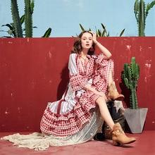 ARTKA 2019 été nouveau femmes robe à carreaux 100% coton demi manches gland col en V longue robe élégante dame bohème robes LA11091X