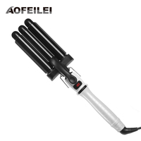 Professional Hair Curling Iron Waver Roller Wand 110 220V Perm Ceramic Triple Barrels Deep Hair Curler