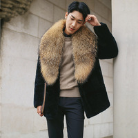 men clothing furs 2018 overcoat winter thick warm faux fur jackets and coats the north of face men black long sleeve coat