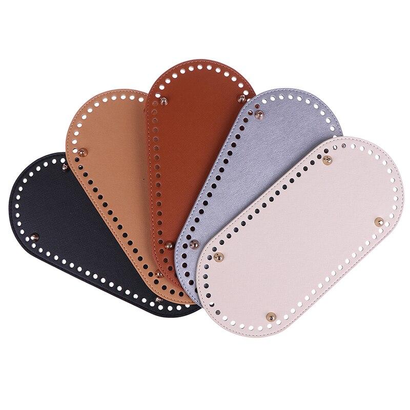 25x12cm Bottom For Knitting Bag PU Patent Leather Bag Handbag Accessories Bottom With Holes Diy Crochet Bag Bottom KZBT008