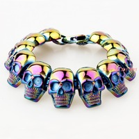 New Cool Punk Skull Bracelet For Man 316 Stainless Steel Man's High Quality Jewelry Wholesale Free Shipping