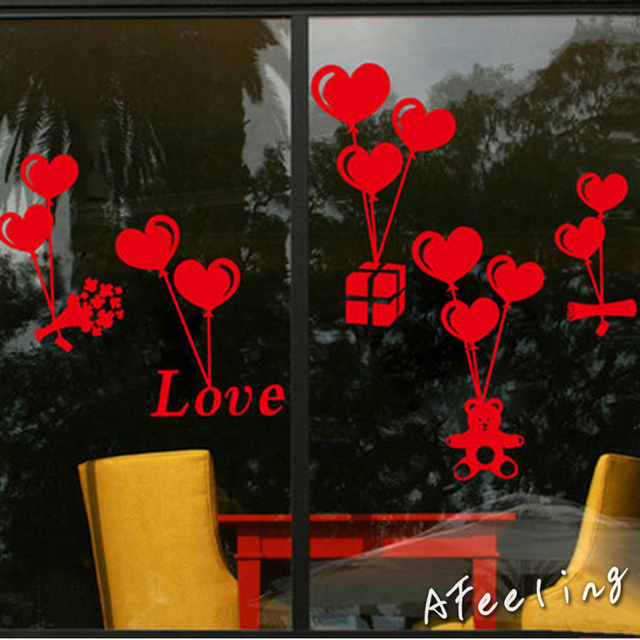 Balloon valentines day gift florist shop glass door stickers decorative glass window stickers stickers