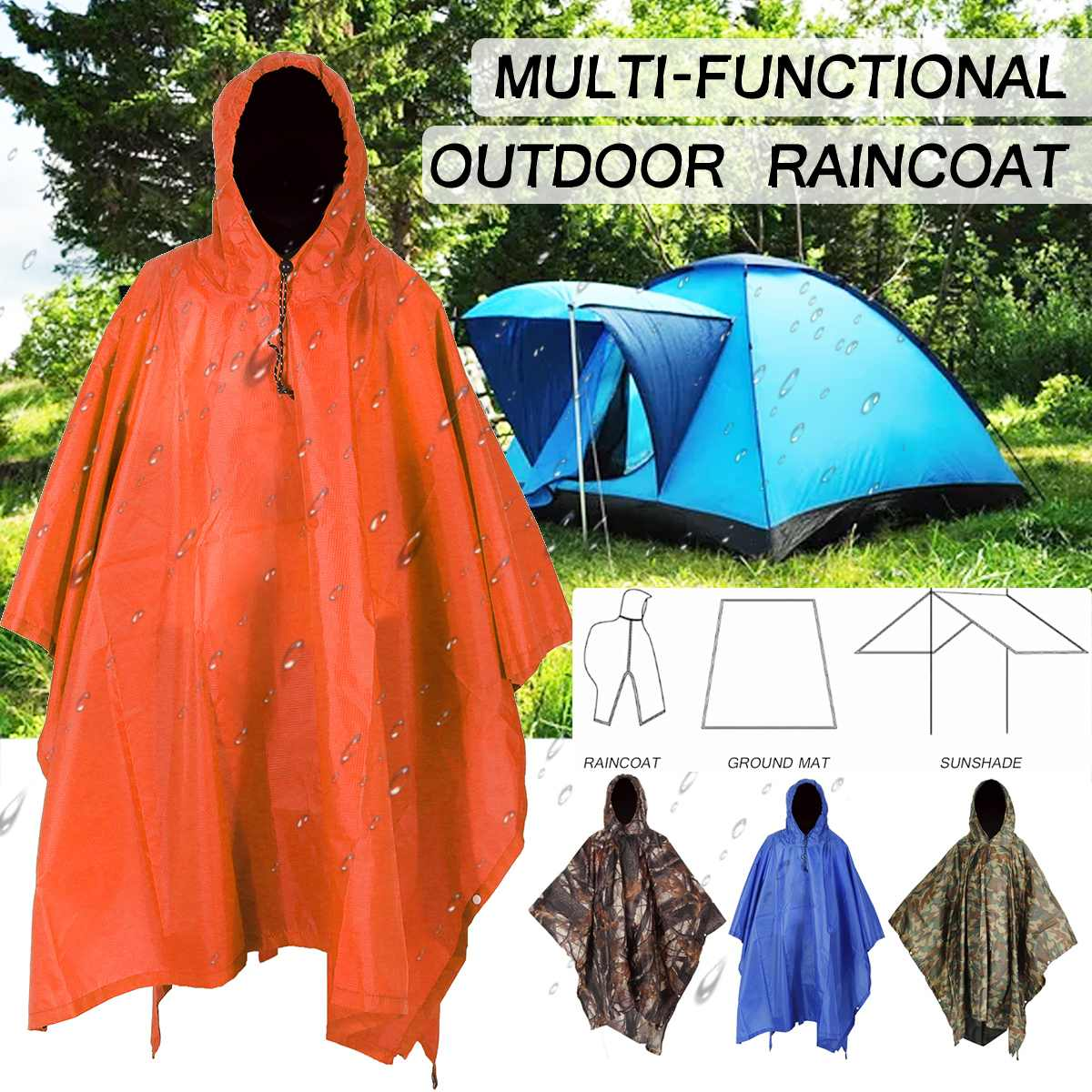 Multifunctional Camo Raincoat Military Impermeable Waterproof Rain Coat Men Women Camping Fishing Motorcycle Rain Poncho