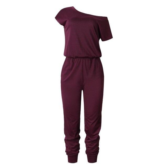 2019 Spring And Summer Fashion Women Slant Shoulder Casual Pocket Jumpsuit Short Sleeve New Solid Bodysuits Women Rompers 4