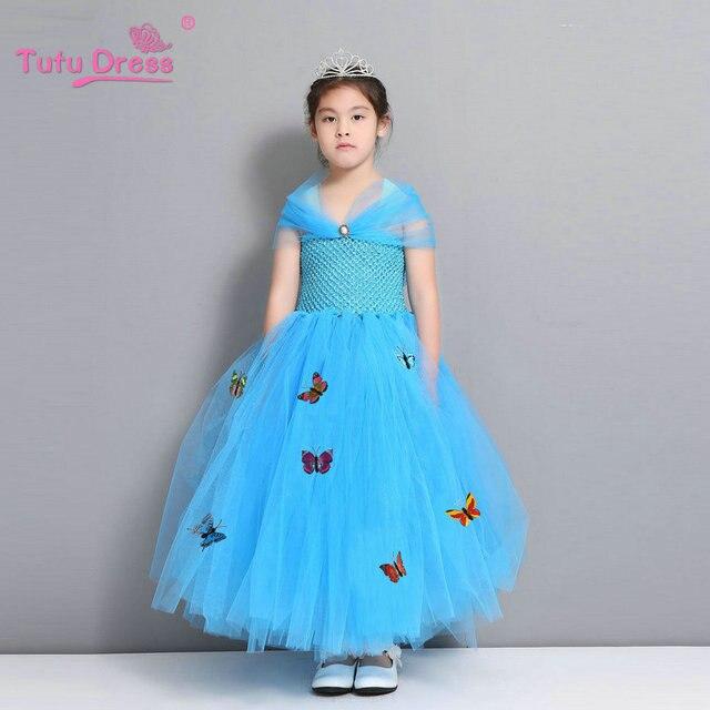 fcc3bcc6822ee Nouveau cendrillon enfants Robe détail Robe Princesse Enfant fille Robe  avec papillon pour cendrillon Cosplay Costume