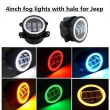 """1 Paia 4 """"30 W LED Luce di Nebbia Halo Anello Occhi di Angolo DRL per Jeep Wrangler JK 07-15 Dodge"""