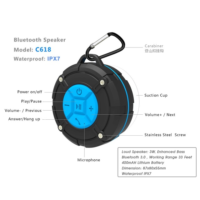 TOPROAD Waterproof Bluetooth Speaker IPX7 2