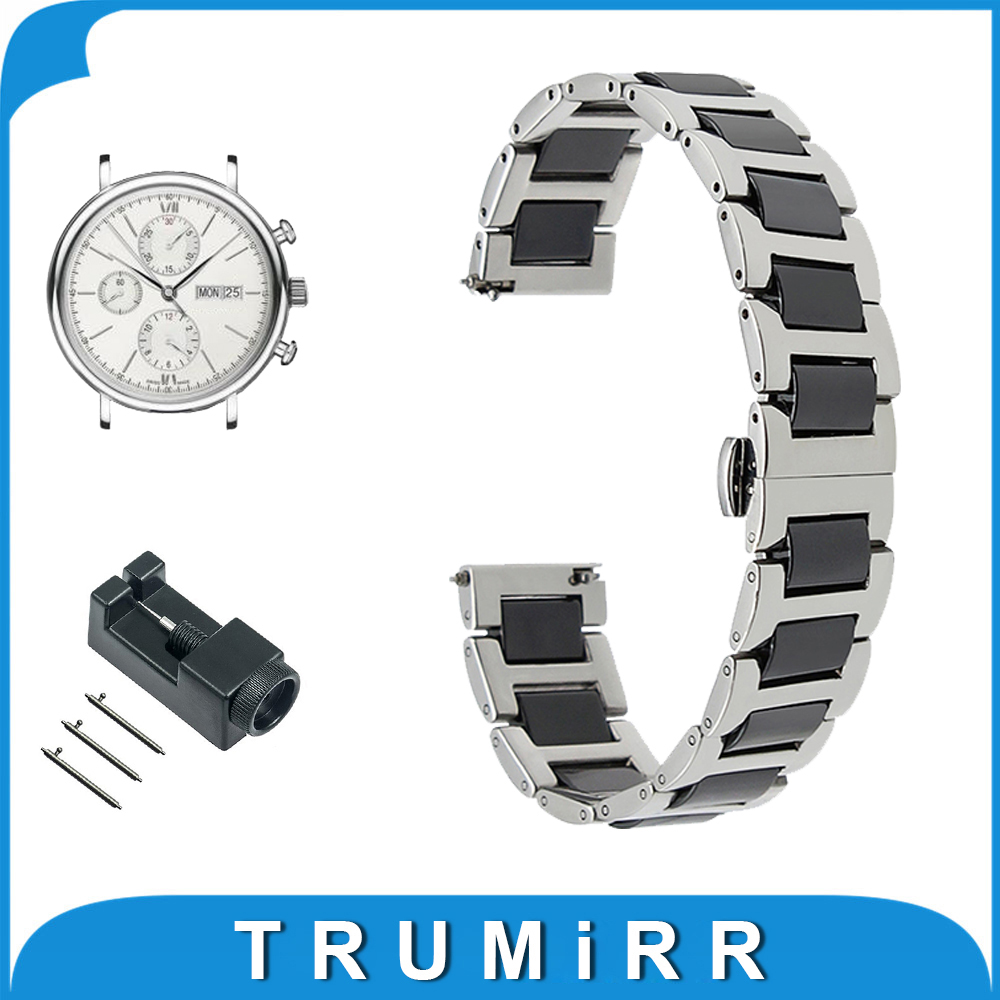 20mm Ceramic + Stainless Steel Watchband for IWC Watch Butterfly Buckle Strap Quick Release Band Wrist Belt Bracelet + Tool