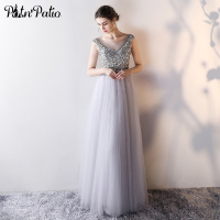 PotN Patio Evening Dresess 2017 New Luxury Sequined Crystal Beading Gray Tulle Long Evening Gowns Celebrity