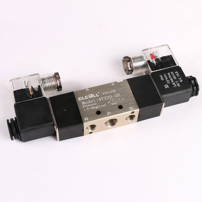Pneumatic Tools 1/4'' 4V220-08 5 Ways 2 Positions Pneumatic Air Solenoid Valve Double Head AC110V pneumatic solenoid valve 2 positions 5way vf series pneumatic elemets vf5220 solenoid valves 3 8 rih brand made in china