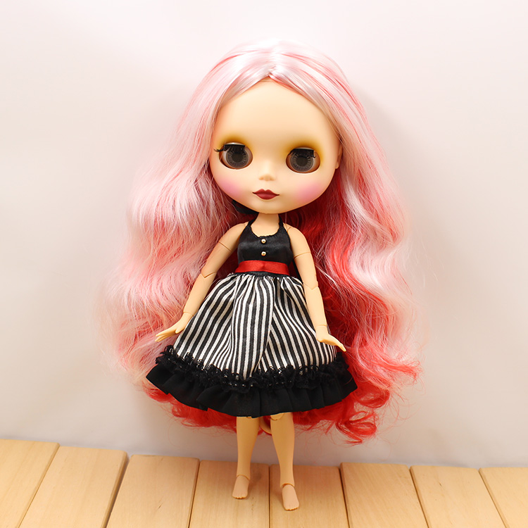 Nude Blyth doll joint body red and white long hair 12 fashion blyth doll diy toys 1/6 bjd dolls for girls