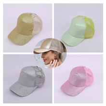 Kyncilor womens Tennis Cap exploded with adjustable fluorescent sequins, sunscreen and dome net cap