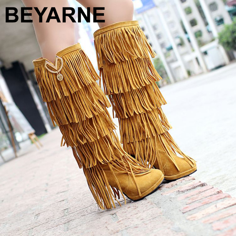 ФОТО Plus size 32-43 New Flock Winter Fur Women boots High heels Knee boots Fringe Tassels Fashion Black Brown Red Yellow Beige Punk