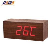 JINSUN Modern Sensor Wood Clock Led Digital Alarm Clocks Table Clock Show Temp Time Voice Control Reloj Despertador Wekker