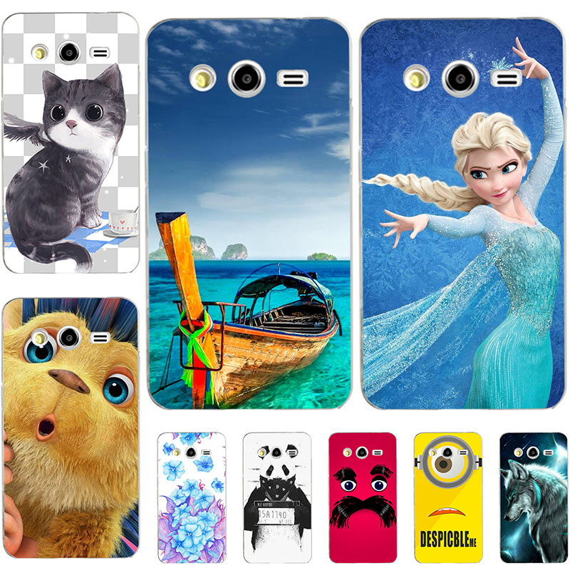Fashion Cartoon Case For Samsung Galaxy Core 2 Duos G3559 G355H G3556D Phone Bag Cat Landscape Drawing Back Cover Hot