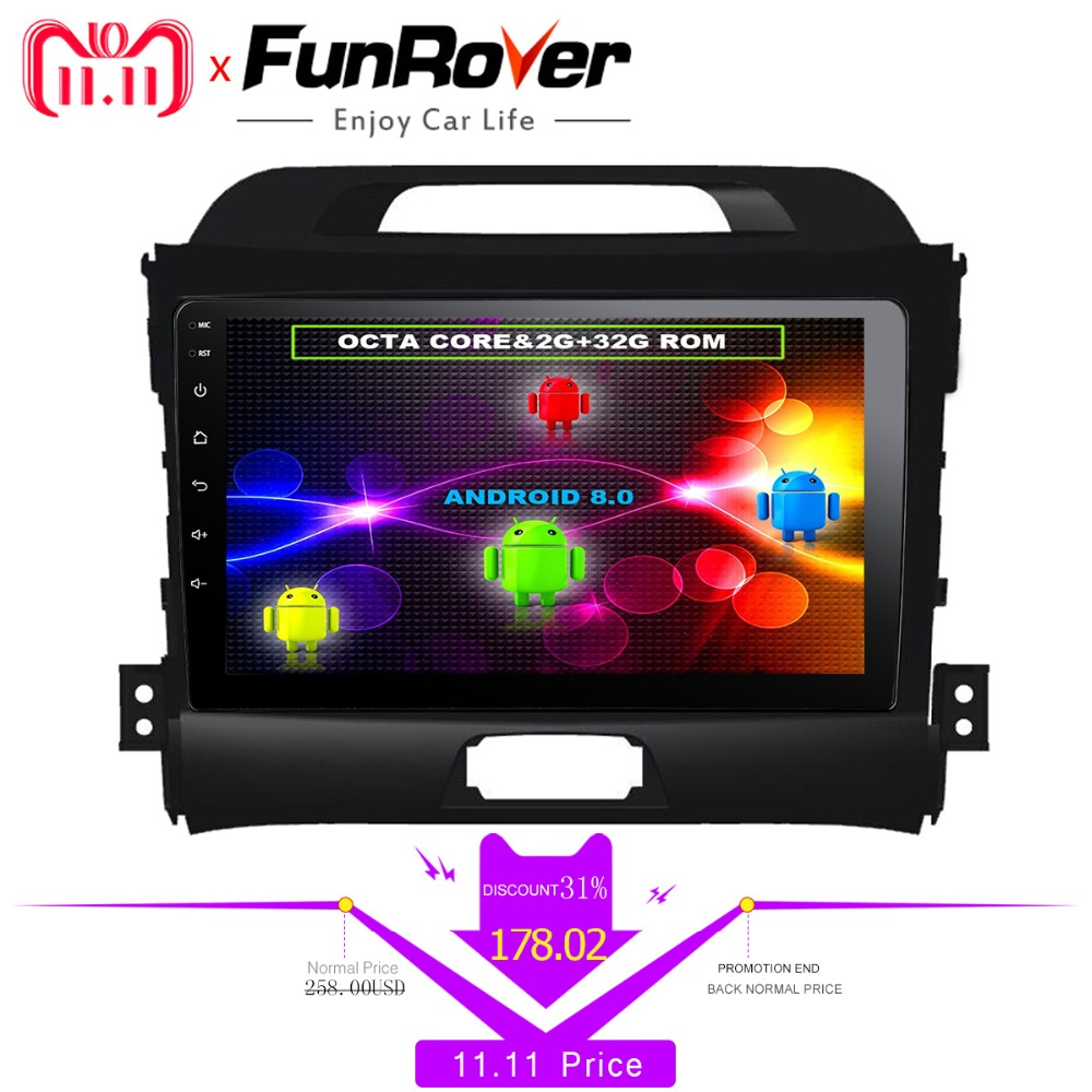FUNROVER 8 cores Android8.0 2din Car dvd radio player for KIA Sportage 2014 2011 2012 2013 2015 gps navigation multimedia player цена